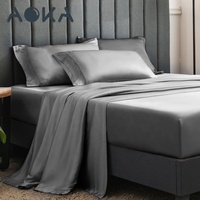 AOKA USA Soft silky Polyester Queen Size Bed Sheet Set 1800tc Luxury Polyester Satin Bedding Sets