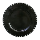 Decorative Round Jeweled Rim Plastic Charger Plate for Christmas