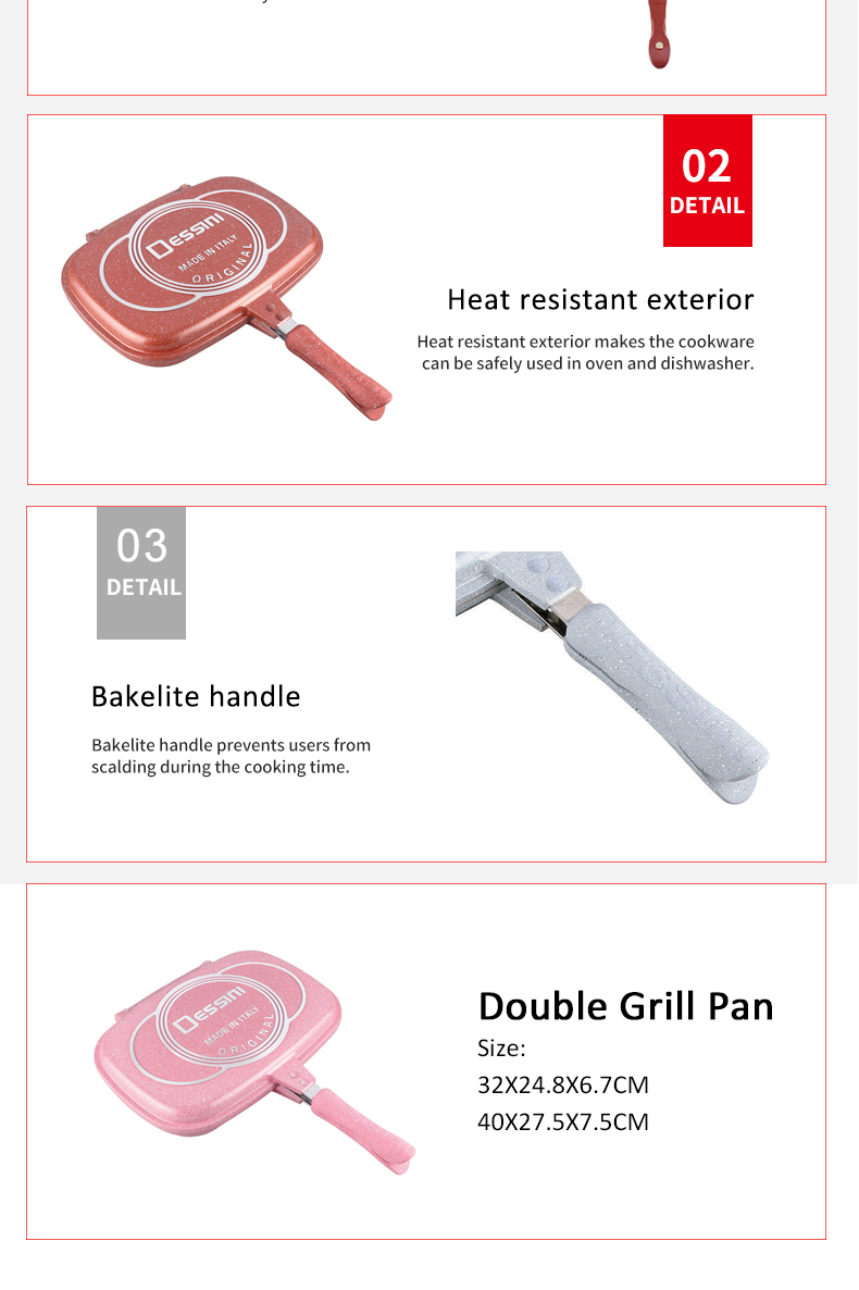 2020 new dessini double side cookware fry pan double grill pan