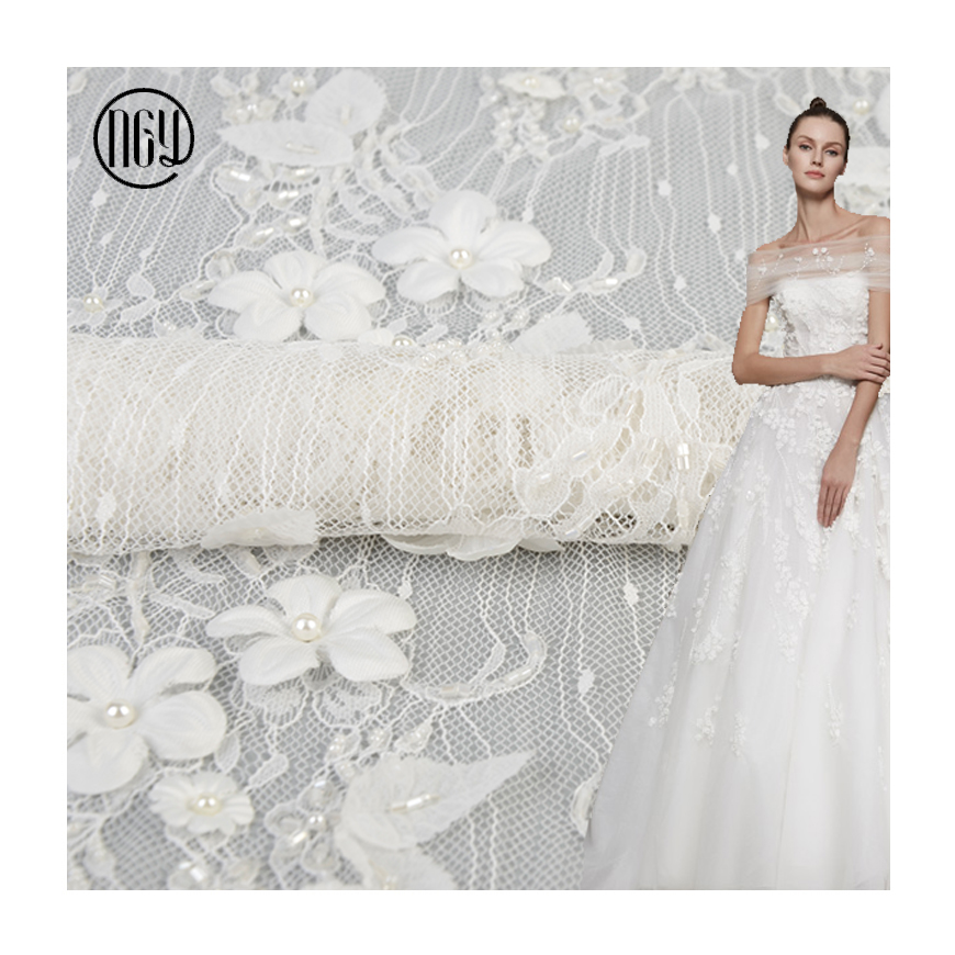 Good sale wholesale luxury white pearls applique 3d flower embroidery