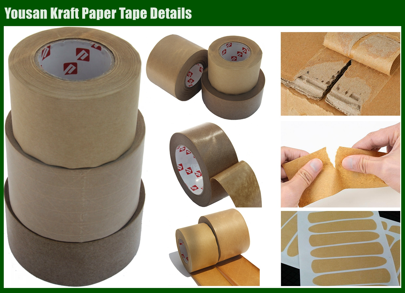 Jumbo Roll Custom Sealing Self Adhesive Gummed Water-free Logo Printed Kraft Paper Tape