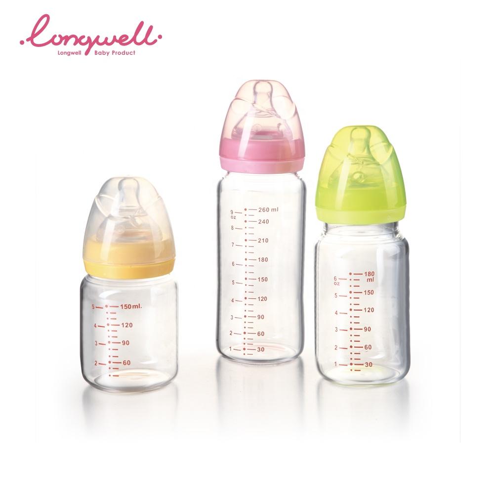 OEM/ODM pezón de silicona seguro para los bebés fabricante logotipo personalizado impreso en Color alimentación con leche materna infantil de vidrio de botella de bebé