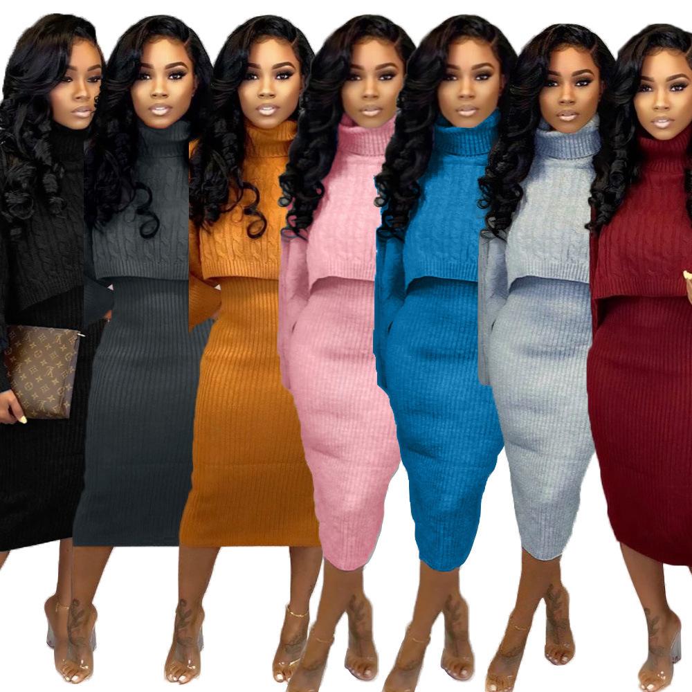 2020卸売ブティックプラスサイズ長袖女性のセーターセータードレスセット2ツーピースセット秋秋服女性