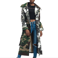 Army Green Camouflage Print Tie Waist Long Coat Autumn Women High Street Casual Outerwear Ladies Open Front Lapel Coats