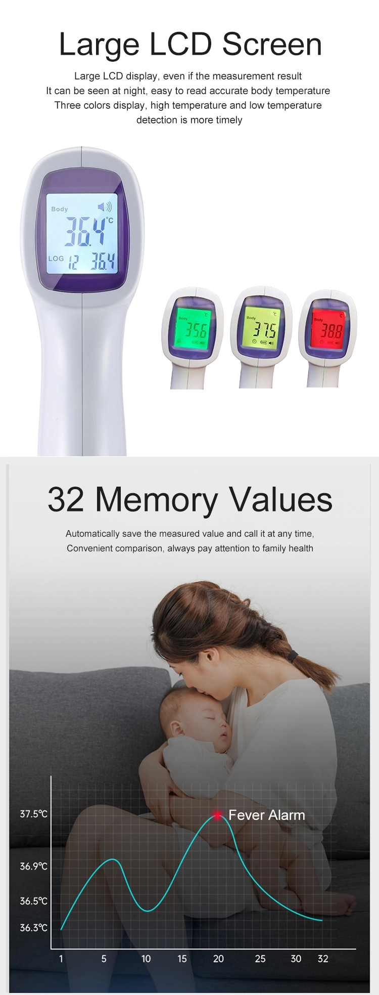 2020 new cheap price handheld instant fast read contact-less baby caring digital fever alarm Infrared Thermometer gun