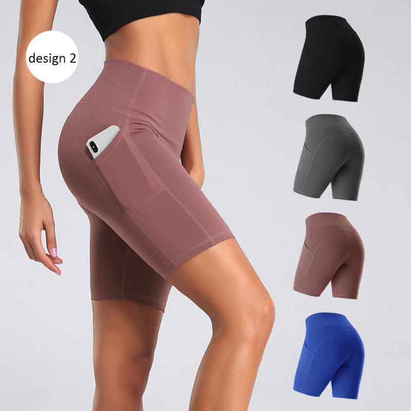 महिलाओं योग शॉर्ट्स 4 डिजाइन उच्च कमर रनिंग जिम कसरत योग शॉर्ट्स जेब के साथ स्पैन्डेक्स एथलेटिक लघु पैंट