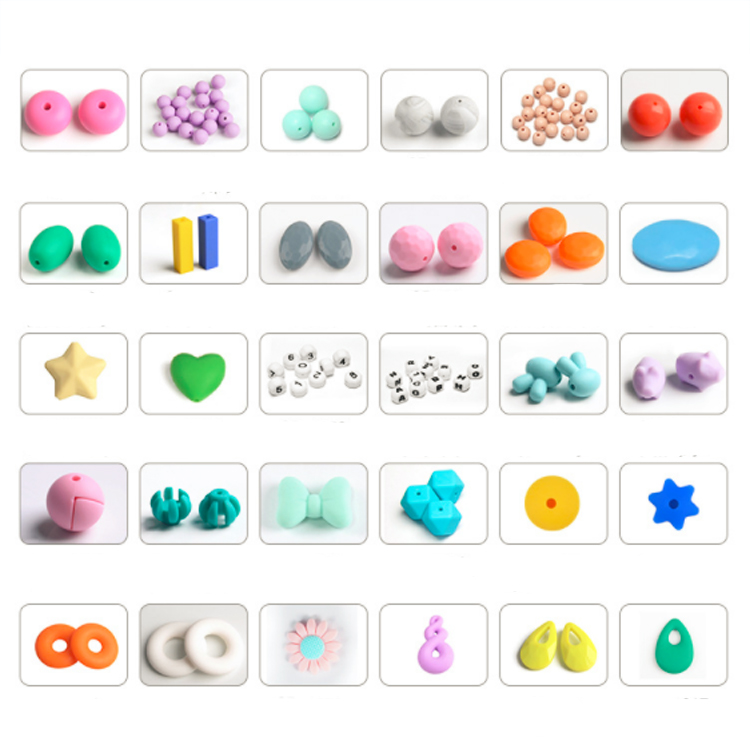 Hexagon silicone baby teething beads bulk gritty bracelet pacifier clips silicone beads teether