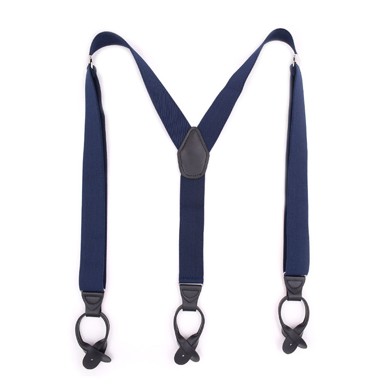 <strong>Men's</strong> Solid Color Button <strong>Suspenders</strong> - 1.5 Inch Wide