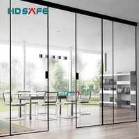 customized tempered glass soft closing black metal narrow frame synchronized sliding door