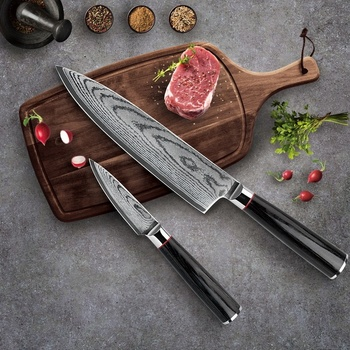 Best-Kitchen-Knives Germany Steel Knife Set VG10 Steel Damascus Knife