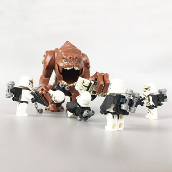 1pcs Rancor big figures and 6pcs Sand StormTrooper Star Blocks Wars Compatible Legoe 75005 Building Bricks kids Toys
