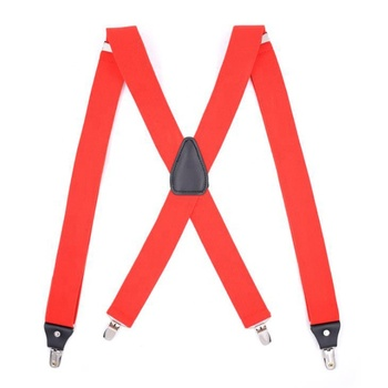 hot sale mens red x shape 4 clips pu leather suspenders for wedding party