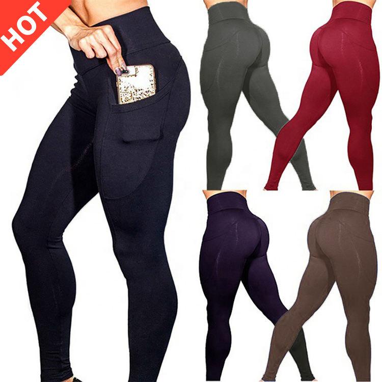 Yeni sıcak toptan spor yoga pantolon legging artı boyutu kadın giyim spor kadın tayt cepler ile