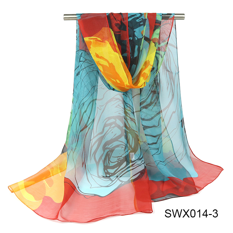 LOW MOQ Cheap Chiffon Ladies Scarves Polyester Print Georgette Scarf