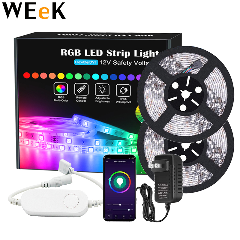 LED Strip Light RGB Smart LED Strip Backlight Waterproof Bluetooth 5M RGB Strip 12V Power Supply RGB Tape Full Set