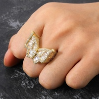 Hip-Hop Butterfly Ring Micro Pave AAA Cubic Zircon All Iced Out Gold Silver Color Plated Rings Fashion Jewelry For Men Gift ring