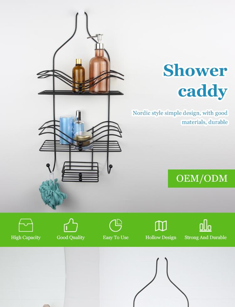 Customized professional black hanging suction up wire mesh storage basket bathroom shower caddy shelves organizer