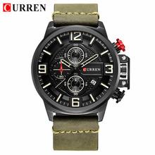 CURREN новые мужские часы Топ бренд класса люкс Большой циферблат военные кварцевые часы кожа водонепроницаемые спортивные наручные часы для ...(Китай)