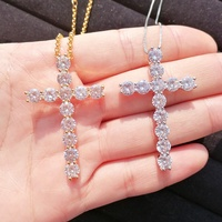 Cross charm pendant necklace for women gold silver iced out necklaces
