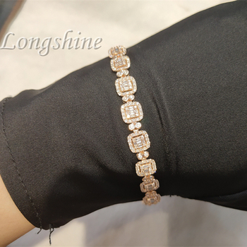 HipHop Charm Perfect Gift Chain Ladies Natural Diamond Rose gold 18K White Gold Chain Bracelet