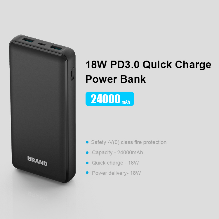 Best Selling Large Capacity Fast Charging 24000mAh Portable Phone Charger PD Power Bank