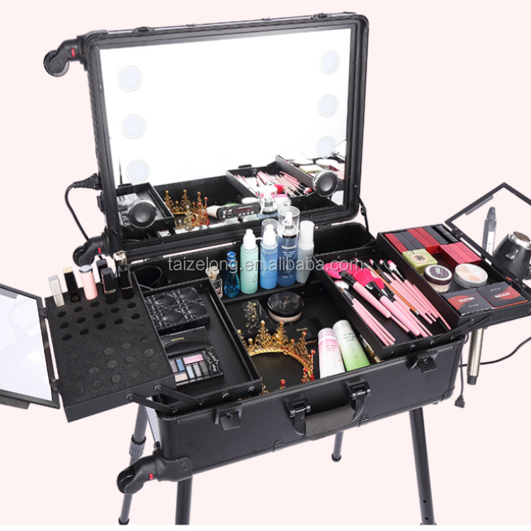 Professional Aluminum makeup case with LED lights