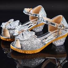 Сандалии для девочек; Сезон лето; Новинка 2020 года; Детская обувь принцессы; Босоножки с бантом и кристаллами для маленьких девочек; Вечерние ...(China)