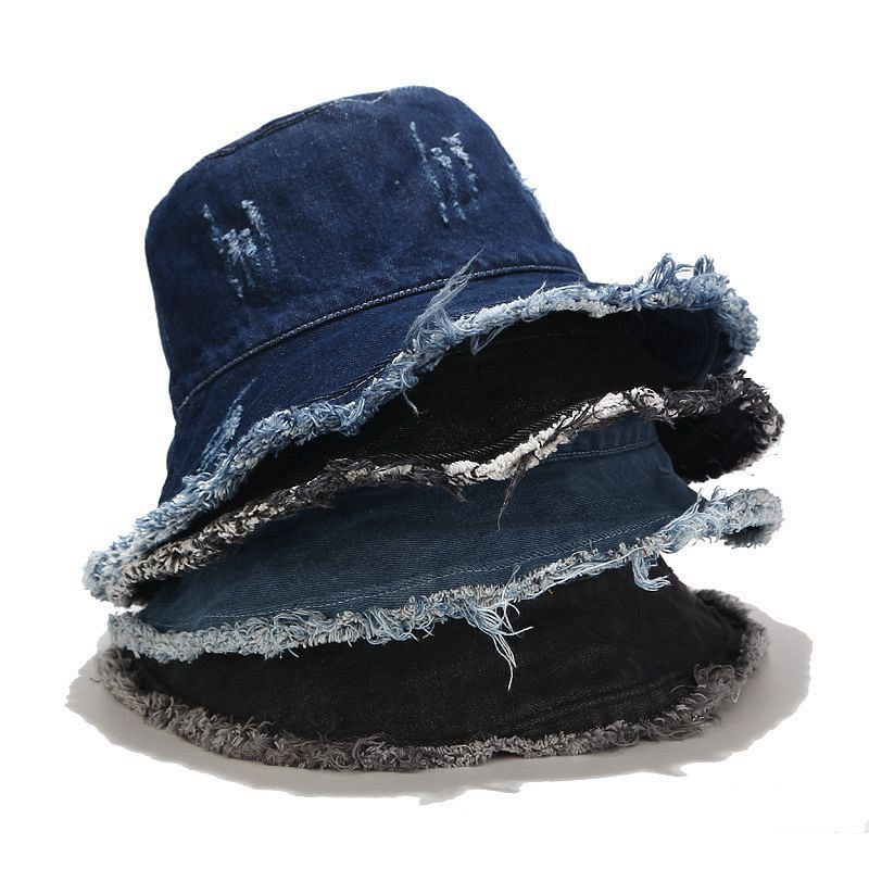 Factory factory outdoor bucket hat  for Wholesale fisherman denim stone washed bucket cap with hole