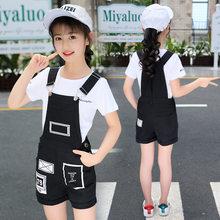 Летний комбинезон для девочек, белая хлопковая футболка и шорты для подростков 4, 5, 6, 7, 8, 9, 10, 11, 12 лет, 2020(Китай)