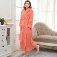 Женский зимний длинный фланелевый Халат размера плюс, розовое теплое кимоно, банный халат, сексуальный халат подружки невесты, мужские хала...(Китай)