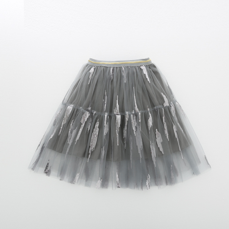 Very popular sequined girls skirt cup cake soft tulle ruffle kids tutu skirt
