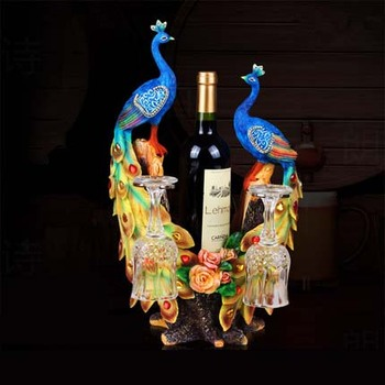 peacock shaped resin wine rack