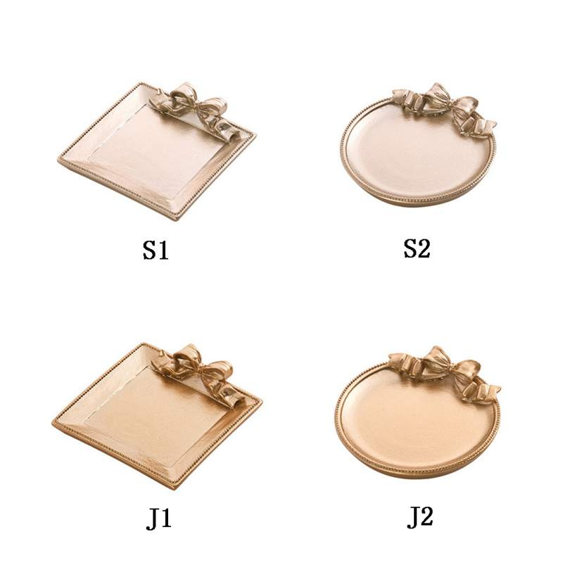 Decorative Golden Bedroom Living Room Decoration Necklace Jewelry Fruit Plate Crafts Trinket Tray Organizer New