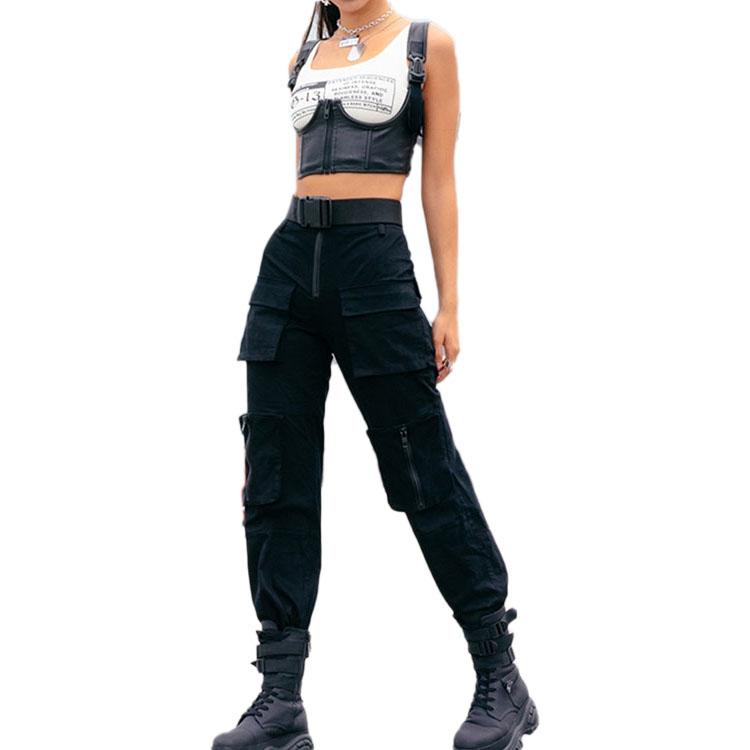 Madamwar Pantalones Militares Mujer Negro
