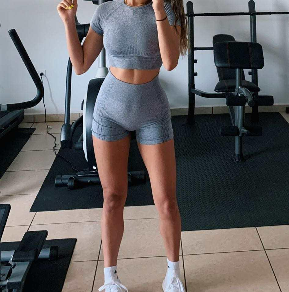 High waisted tight workout active apparel athletic wear custom women clothing leggings fitness seamless yoga set