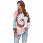 Hoodies Women Wholesale Loose Tie Dye Crew Neck Oversize Cropped Pullover Hoodies Women Sweatshirt