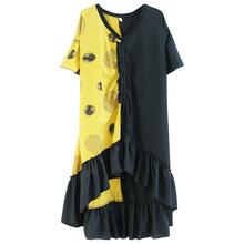 Женское асимметричное платье XITAO, повседневное свободное платье богини с оборками и кулиской, модель GCC3668 на лето, 2020(Китай)