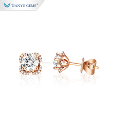 Tianyu gems1Ct 5.0 มม.DEF สี Gorgeous Sparkle Moissanite Solitaire STUD ต่างหูสกรูกลับ STUD ต่างหู 14K Rose Gold