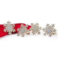 Shimmer Snowflake Metal Crystal Napkin Rings For Christmas
