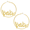 Fashion letters big round custom personalized name earrings