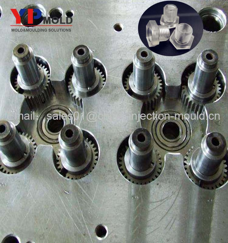 Customized Hexagon threaded bolt plastic injection mold with M6 screw parts