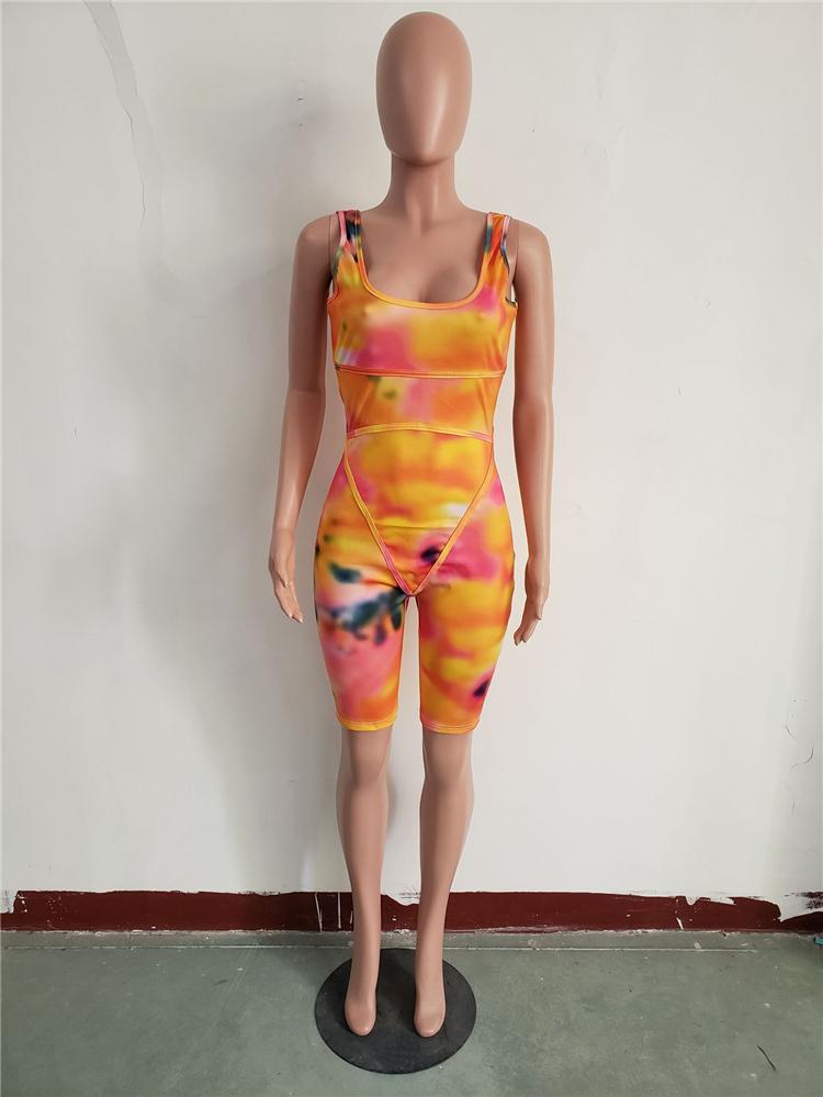 M10451 اثنين قطعة مجموعة ملابس نساء الصيف المطبوعة سستة غير مرئية بذلة