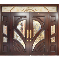 HS-YH8112 modern exterior main entrance front wooden doors solid teak wood double door design