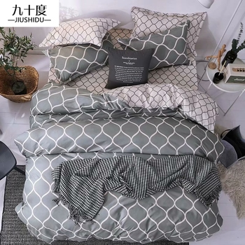 Denisroom Quilts and Bedding Sets Stylish Simplicity Double Bed Comforters Queen cotton bedding Duvet Cover Sets XY04#