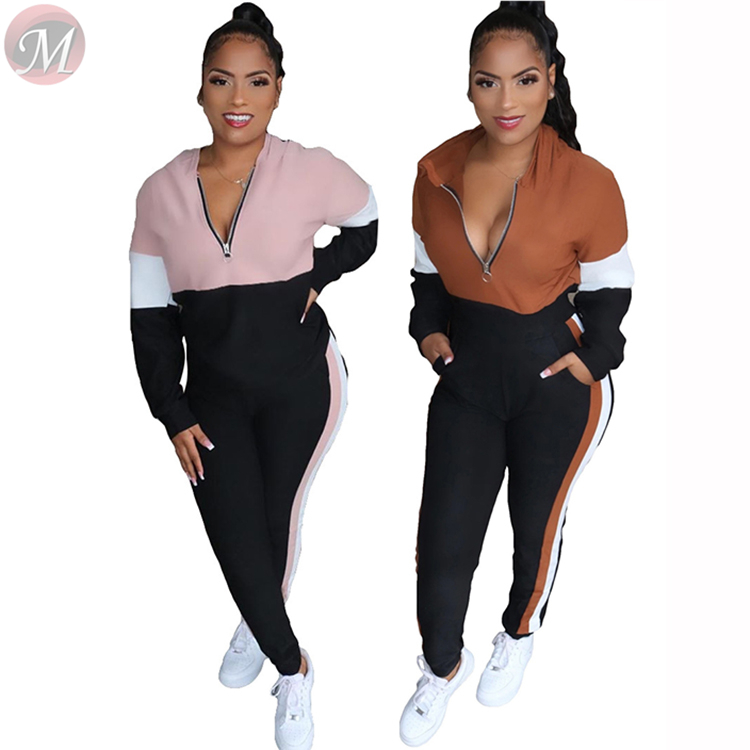 9122723 new casual fashion hooded long sleeve patchwork tracksuit zipper v neck Women 2 Piece Set Clothing