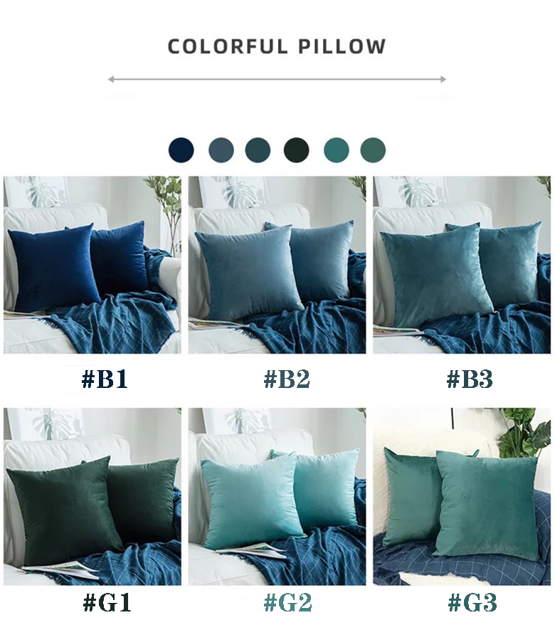 hot sales blue square teal decorative bed navy crushed velvet throw pillows for couch