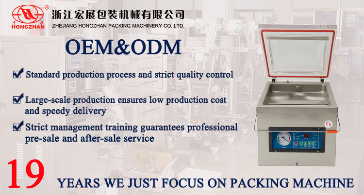 DZ-400 vacuum packing machine with wide working chamber for raw meat
