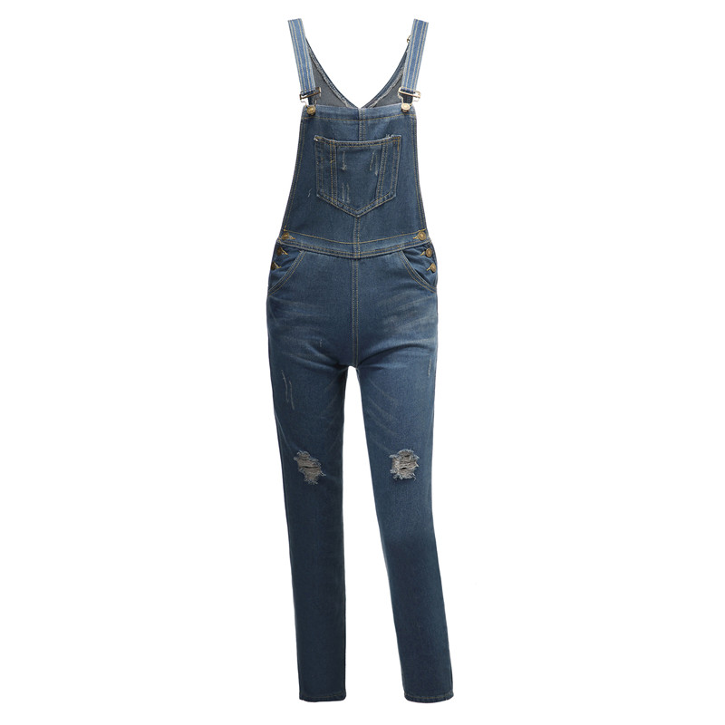 Frauen Strampler Baggy Denim Jeans Voller Länge Pinafore Damen Hohe Taille Jeans Overalls