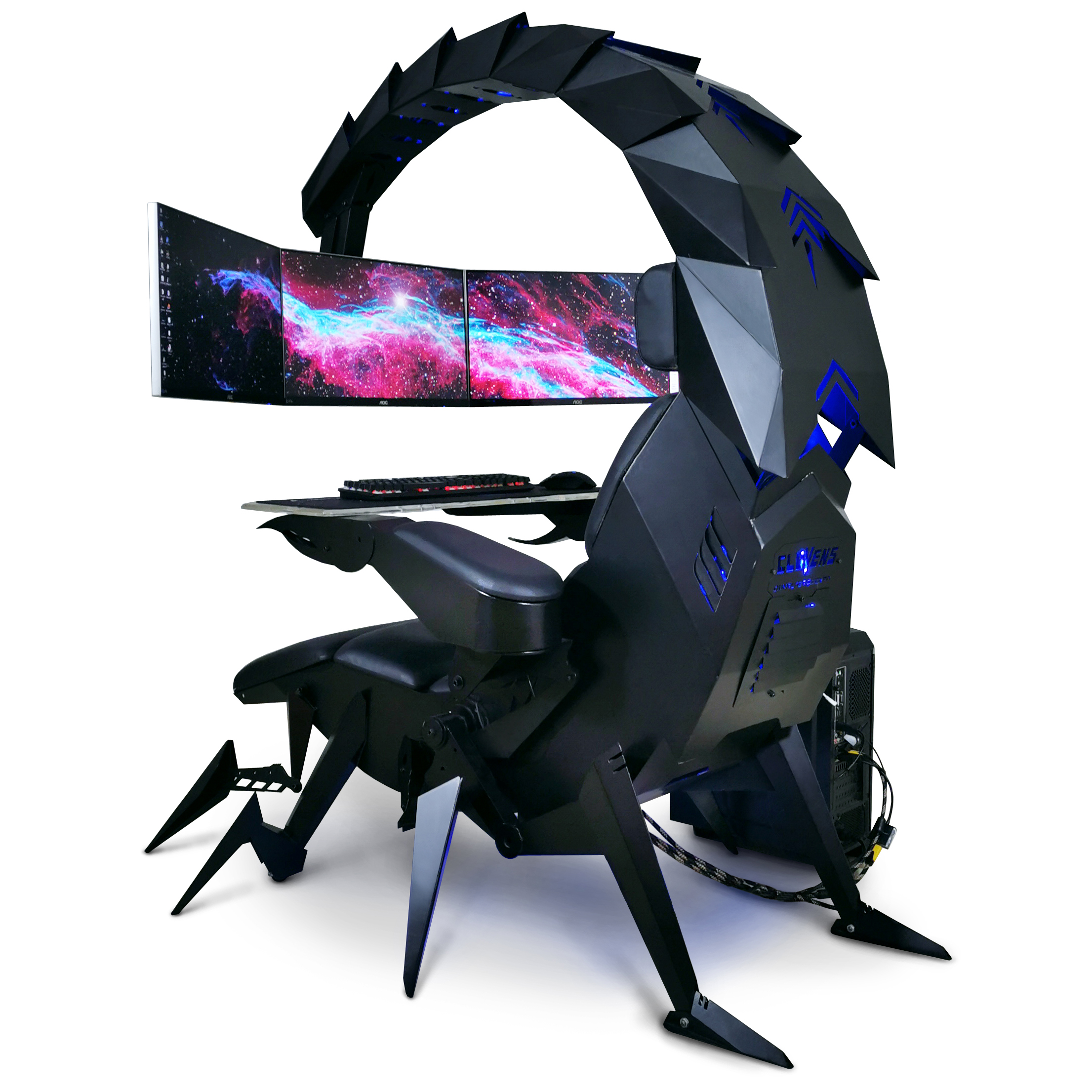 Cluvens IW-SK scorpion Computer cockpit droideka chair automatic support 3 monitors better emperor acer predator thronos