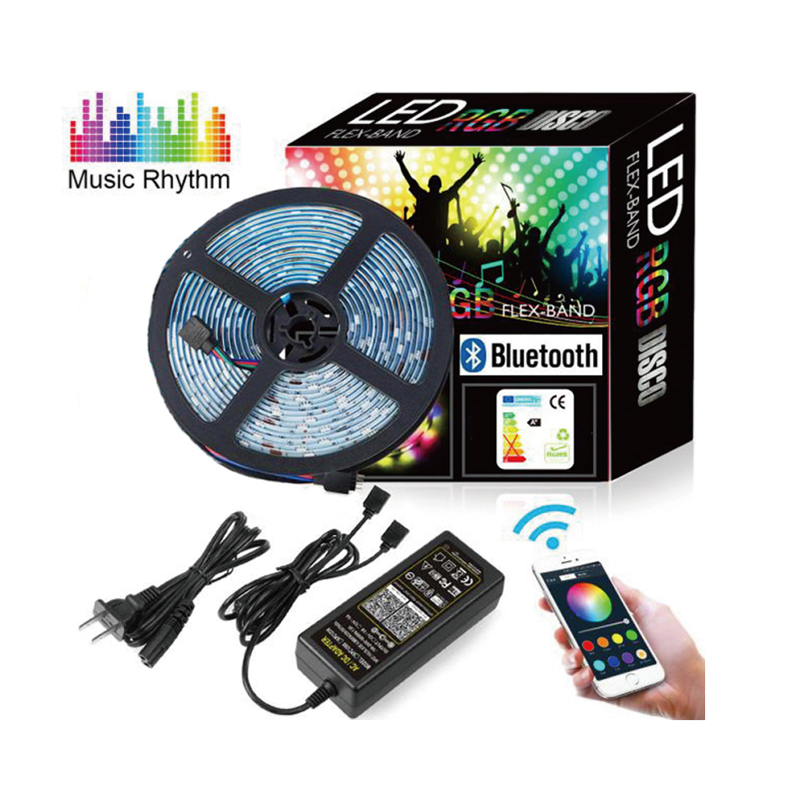 5050 RGB 12V Adapter Bluetooth APP Controlled No controller 5m/10m LED Mesh lamp strip Lights Color changing with music rhythm